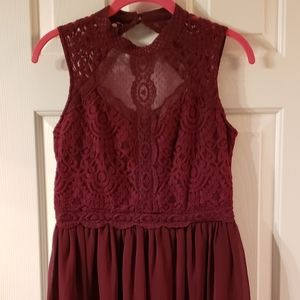 Vintage Inspired Burgundy Lace Mini Dress Small